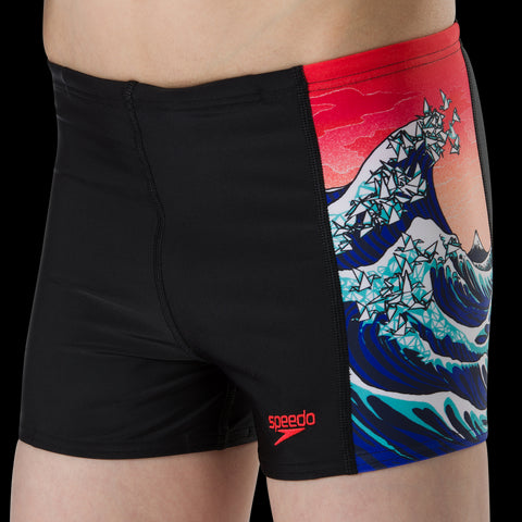 Speedo Sports Aqua Short Boys Origmi Wave Black/Navy/Lava Red/White - Clickswim.com
