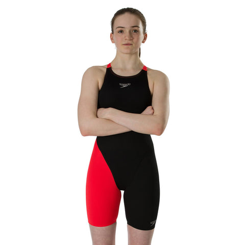 Speedo Endurance+ Kneeskin Girls Black/Lava Red - Clickswim.com