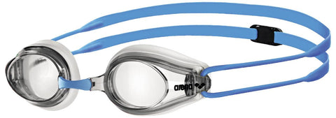 Arena Junior Racing Goggles Tracks Clear/Light Blue - Clickswim.com