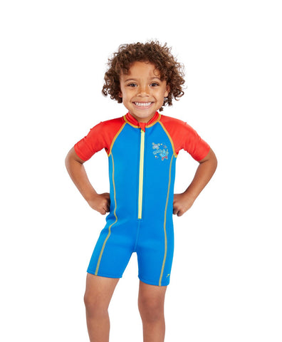 Speedo Infant Boys Sea Squad Hot Tot One-Piece-Suit Red/Blue - Clickswim.com