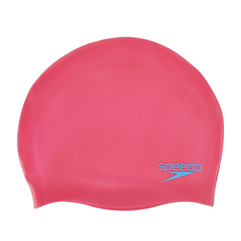 Speedo  Plain Moulded Silicone Junior Cap Pink - clickswim.com