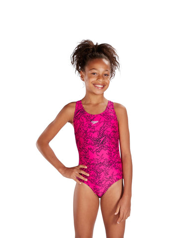 Speedo Girls Endurance 10 Boom Allover Splashback Electric Pink / Black - Clickswim.com