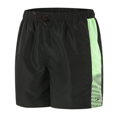 "Speedo Mens Value Fabric (Libalon) Sport Vibe 16"" Watershort Black/Bright Zest - Clickswim.com"