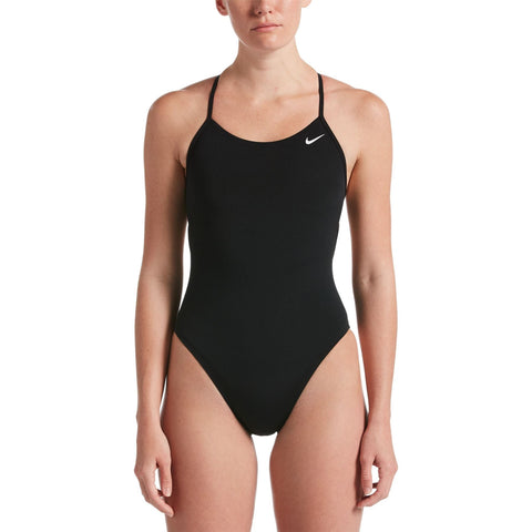 Nike Women's Hydrastrong Swimsuit Lace Up Tie Back One Piece Black - Clickswim.com