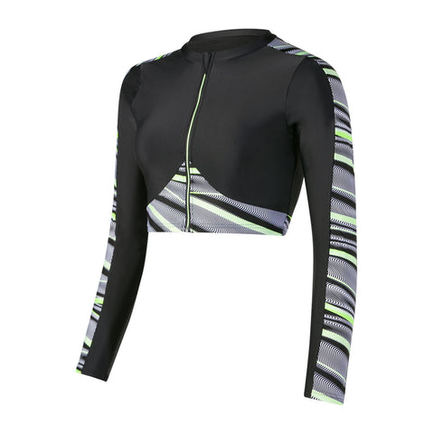Speedo Womens Powerflex Eco Reflect Wave Rash Top Black / Bright Zest / White - Clickswim.com