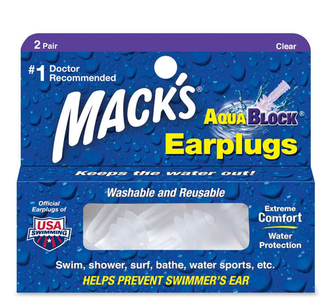 Macks Soft Flanged Earplugs  AquaBlock Purple 2-pair Box - Clickswim.com