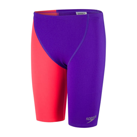 Speedo Boys Endurance+ Fastskin High Waisted Jammer Purple/Psycho Red - Clickswim.com