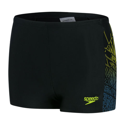 Speedo Junior Boys Logo Panel Aquashort Black/Green - Clickswim.com