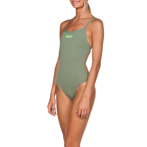 Womens Solid Light Tech High Max Life Swimsuit Army Shiny Green - Clickswim.com