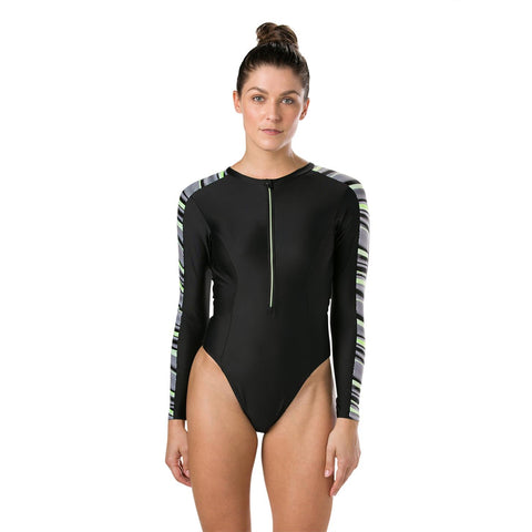 Speedo Womens Powerflex Eco Reflect Wave Long Sleeve Swimsuit Black - Clickswim.com