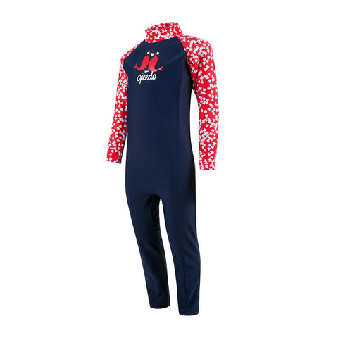 Speedo Infant Girls Endurance 10 Colour Block Long Sleeve All-In-One Suit Navy / Risk Red / White - Clickswim.com