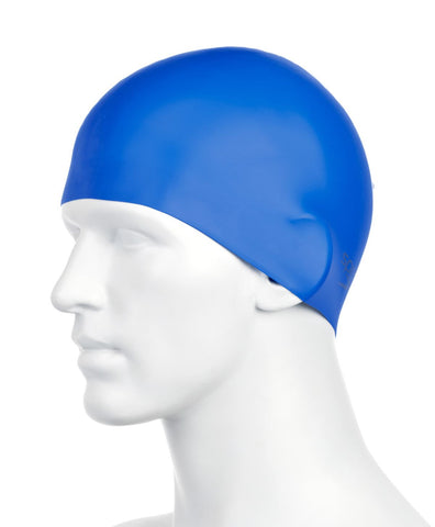 Speedo Plain Moulded Silicone Cap Adult Neon Blue - Clickswim.com