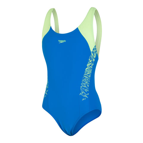Speedo Boom Splice Muscle Back Girls Brilliant Blue/Bright Zest - Clickswim.com