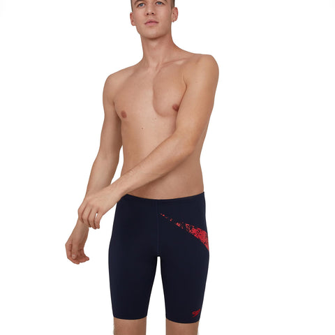 Speedo Boomstar Logo Placement Jammer Mens True Navy/Fed Red - Clickswim.com