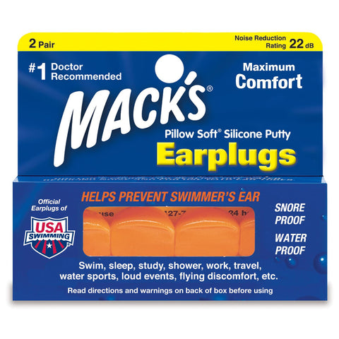 Macks Moldable Silicone Earplugs Pillow Soft Hot Orange 2-pair Box - clickswim.com