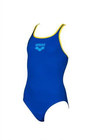 Arena Girls Biglogo Pro Back One Piece Maxlife Swimsuit Neon Blue Yellow Star - Clickswim.com