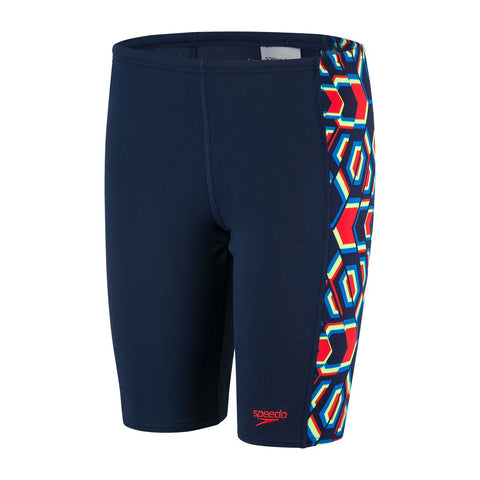 Speedo Boys Endurance + Allover Panel Jammer Navy / Pure Orange / Bright Zest - Clickswim.com