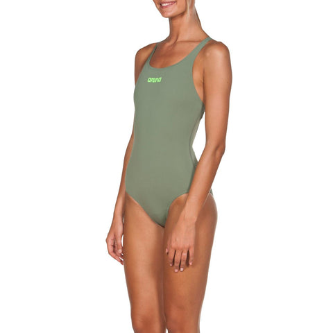 Arena Womens Solid Swim  Pro Max Life Swimsuit Army/Shiny Green - Clickswim.com