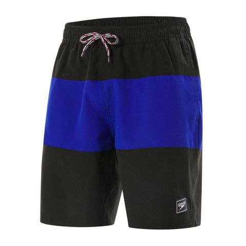 "Speedo Mens Peached Poly Eco Panel Leisure 18"" Watershort Black/Chroma Blue - Clickswim.com"