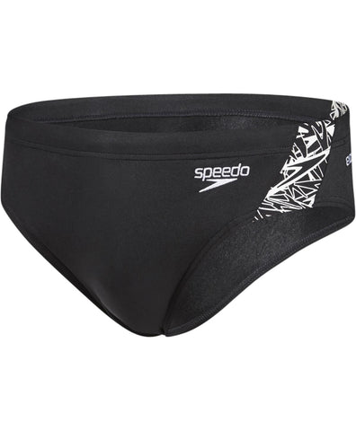 Speedo Adult Mens Boom Splice 7cm Brief  Black/White - Clickswim.com