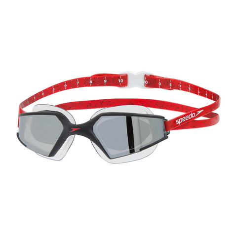 Speedo Aquapulse Max Mirror Adult Black/Lava Red/Chrome - Clickswim.com