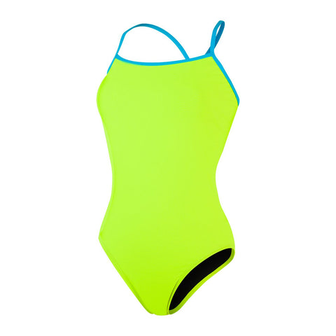 Speedo Solid Tie-Back 1 Piece Womens Fluo Yellow/ Turquoise