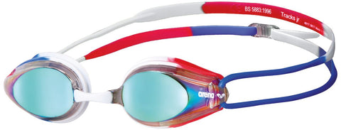 Arena Junior Racing Goggles Tracks Mirror Gold/Blue/Red - Clickswim.com