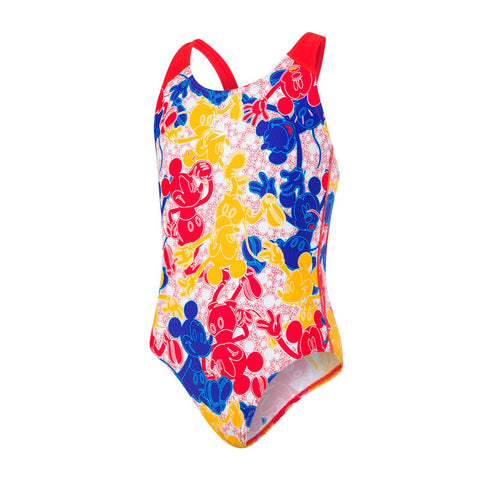 Speedo Splashback Girls Mickey Camo Blue/Red/Yellow - Clickswim.com