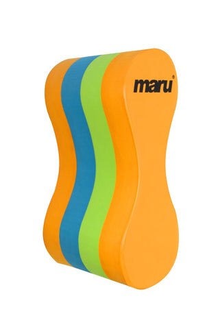 Maru Junior Pull Buoy Training Aid Orange/Lime/Turquoise - Clickswim.com