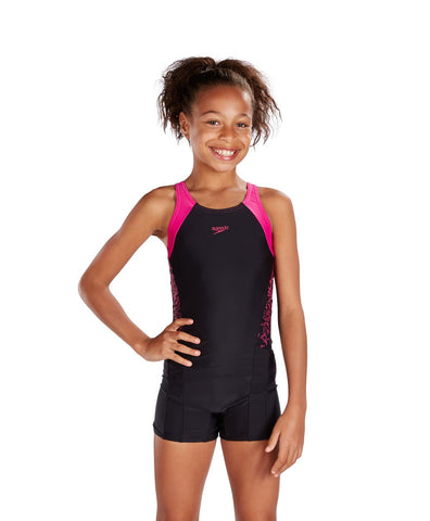 Speedo Girls Endurance 10 Boom Splice Legsuit Black / Electric Pink - Clickswim.com