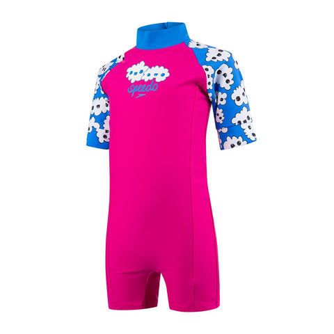 Speedo Infant Girls Endurance 10 Essential All In One Suit Electric Pink / Brilliant Blue / White - Clickswim.com
