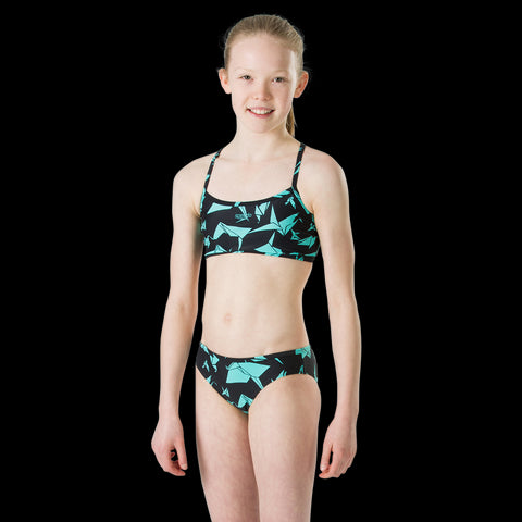 Speedo 2 Piece Girls Akiracrane Black/Aqua Splash - Clickswim.com