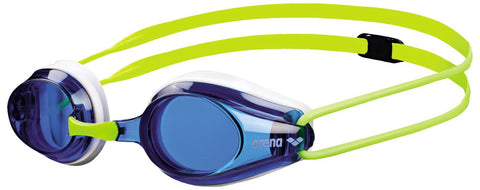 Arena Junior Racing Goggles Tracks Blue/White/Fluoyellow - Clickswim.com