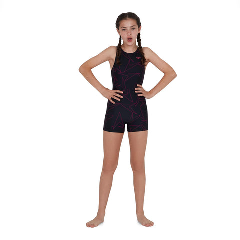 Speedo Boomstar Allover Legsuit Girls Black - Clickswim.com