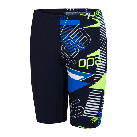 Speedo Allover Jammer Boys True Navy/Bondi Blue/Fluo Yellow/White