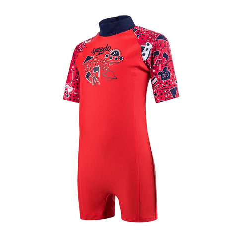 Speedo Infant Boys Endurance 10 Essential All In One Suit Risk Red / Navy / White - Clickswim.com