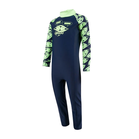 Speedo Infant Boys Endurance 10 Colour Block Long Sleeve All-In-One Suit Navy / Bright Zest - Clickswim.com
