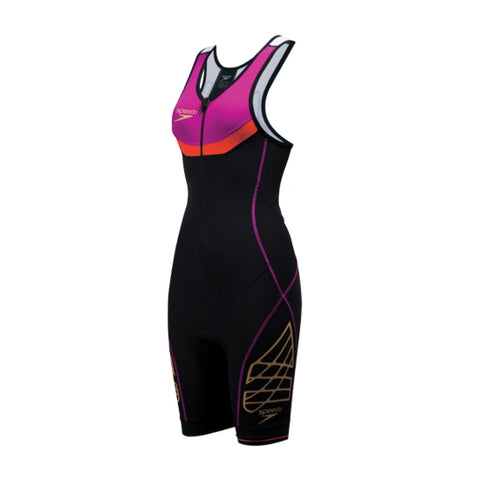 Speedo Adult Womens Triathlon Fastskin Photon Female Trisuit Pink/Purple/Black - Clickswim.com