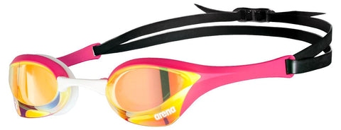 Arena Cobra Ultra Swipe Mirror Goggles Yellow/Copper/Pink - Clickswim.com
