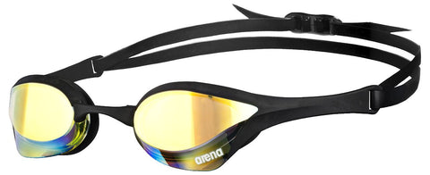 Arena Adult Racing Goggles Cobra Ultra Mirror Yellow Revo/Black/Black - Clickswim.com