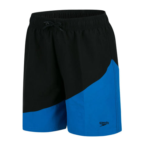 "Speedo Boys Peached Poly Colour Block 15"" Watershort Black / Aqua Splash - Clickswim.com"