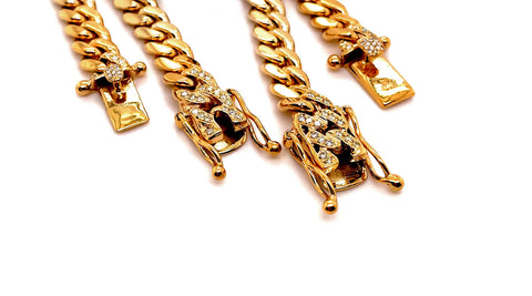 Shown above, two 8mm miami cuban link iced out box clasps