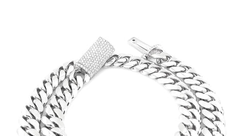 Shown above, a 10mm white gold cuban link with diamond sleek lock.