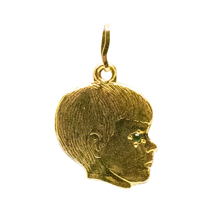 14kt, yellow gold, boys head pendent-pendant charm-lirysjewelry