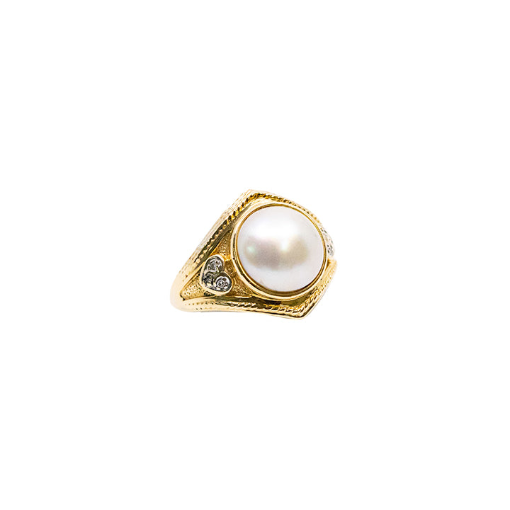 14k Yellow Gold Pearl Women Genuine Ring 7.5g-ring-lirysjewelry
