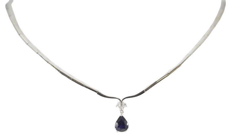 18kt White Gold Diamond Sapphire Women Fancy Necklace 13.4g-lirysjewelry