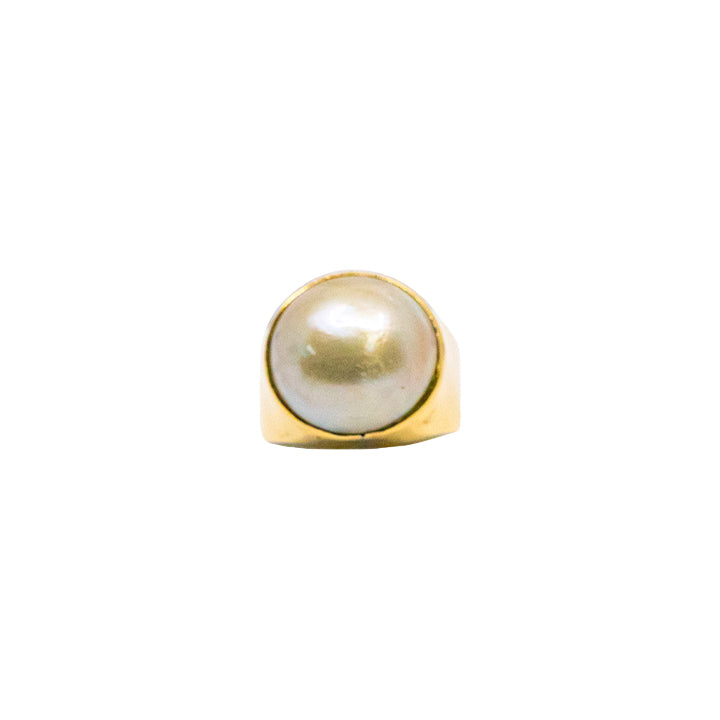 18k Yellow Gold Genuine Women Ring With Pearl 5.8g-ring-lirysjewelry