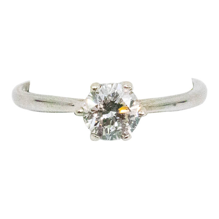 14K White gold Womens Solitary Diamond ring 0.66ct 2.5g-ring-lirysjewelry