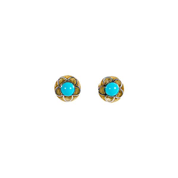 14kt Yellow Gold Turquoise Baby Earrings-lirysjewelry