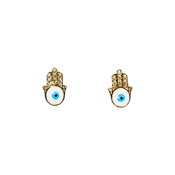 14kt Yellow Gold Hamsa Hand Evil Eye Baby Earrings-lirysjewelry